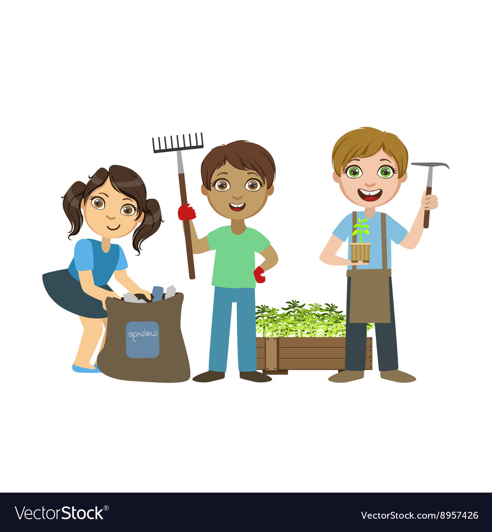 Children gardening together vector