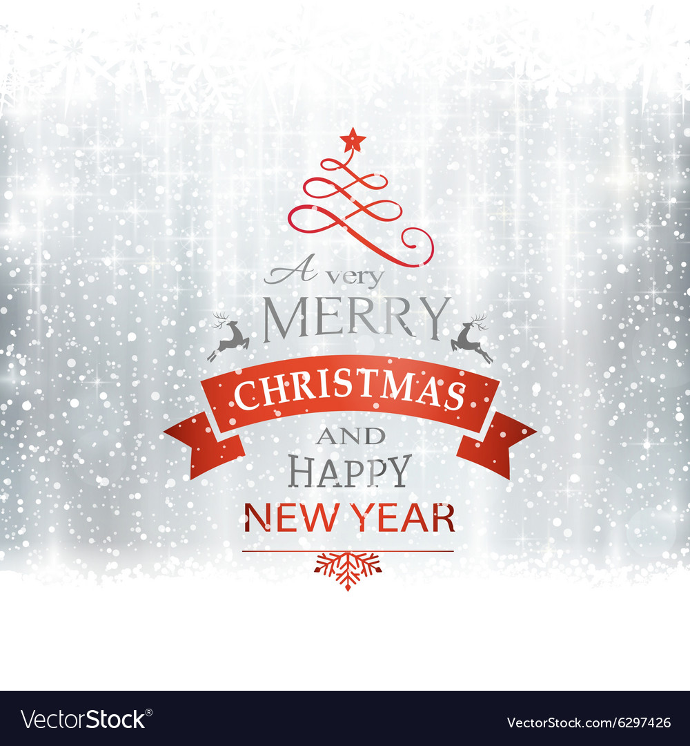 Silver merry christmas typography winter vector