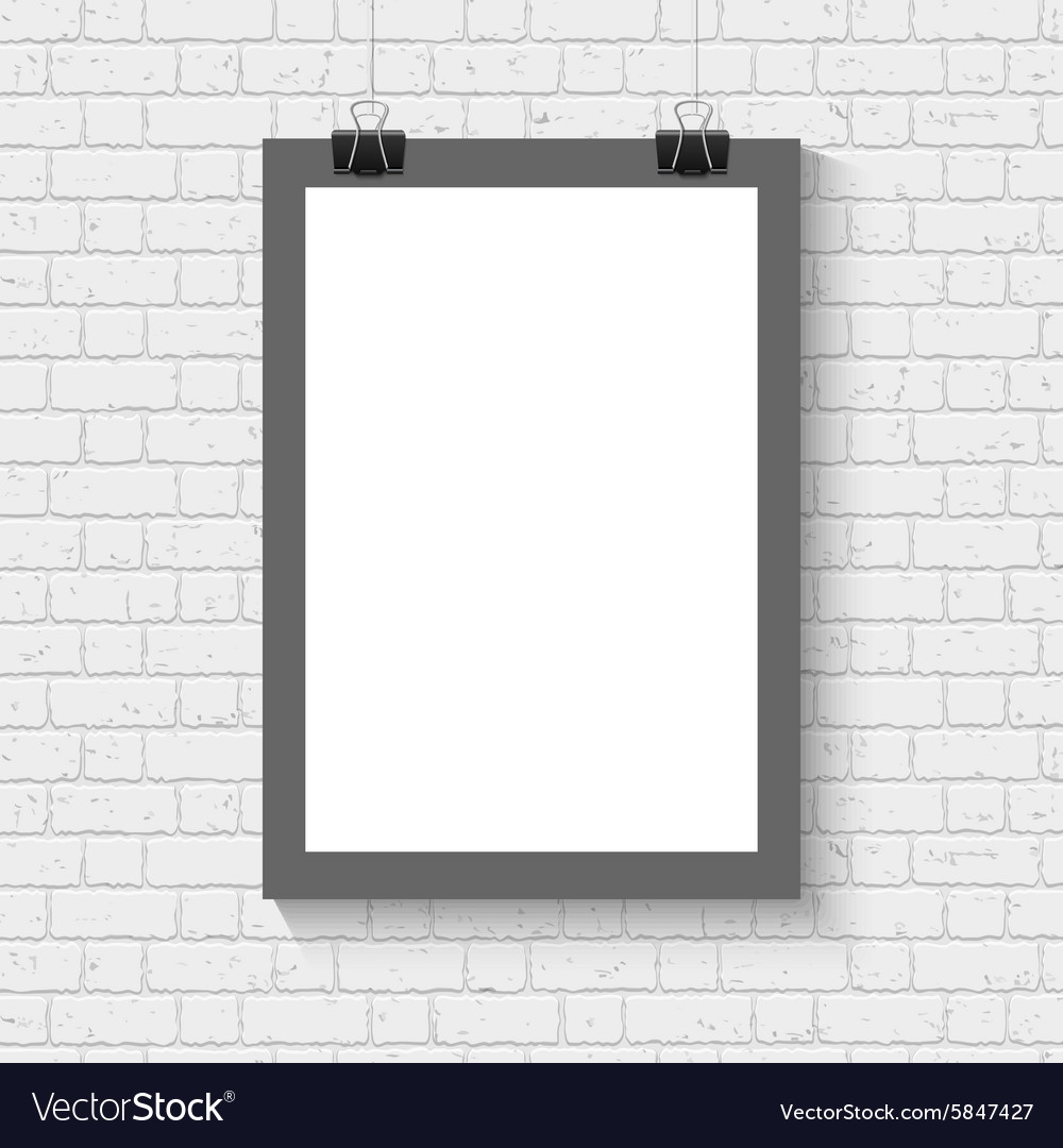 Poster mock up on the brick wall vector