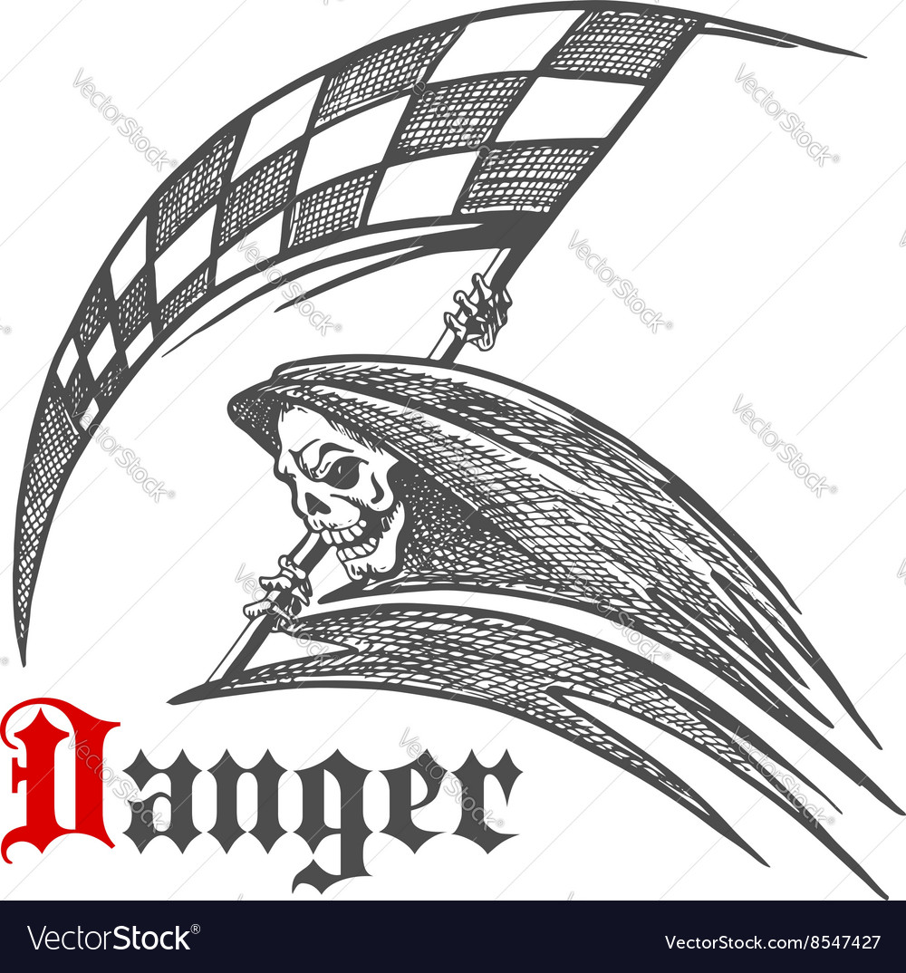 Skeleton or grim reaper with racing flag symbol vector