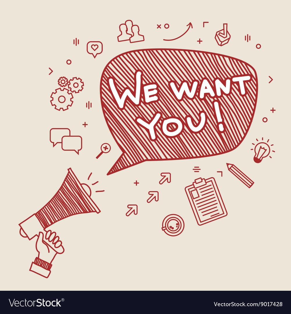 Concept of recruitment we want you vector