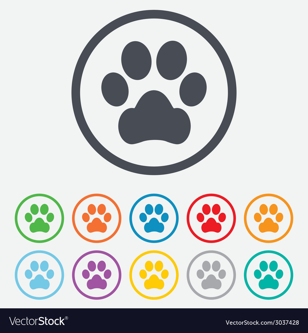 Dog paw sign icon pets symbol vector