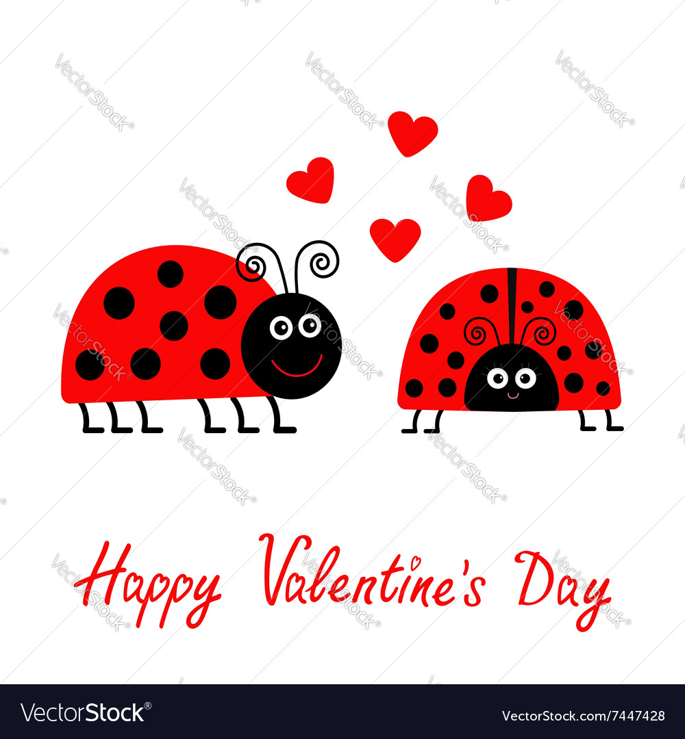 Happy valentines day love card two cartoon pink vector