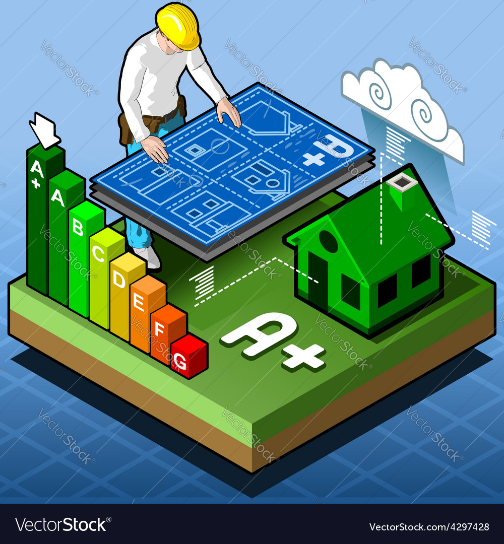 Isometric infographic energy performance vector