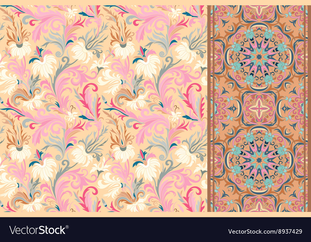 Seamless floral patterns set vintage flowers vector