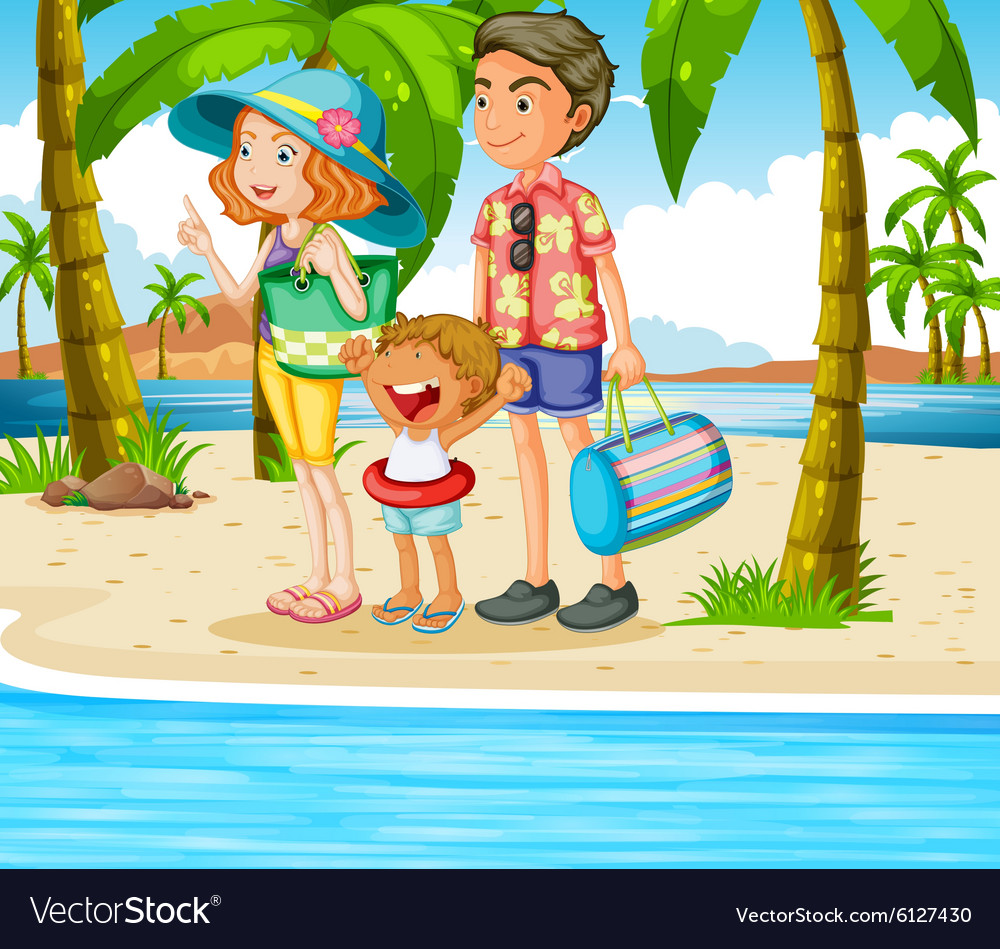 Family trip to the beach vector