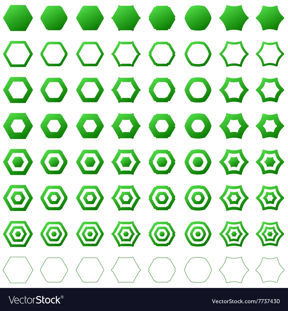 Green hexagon icon template set vector