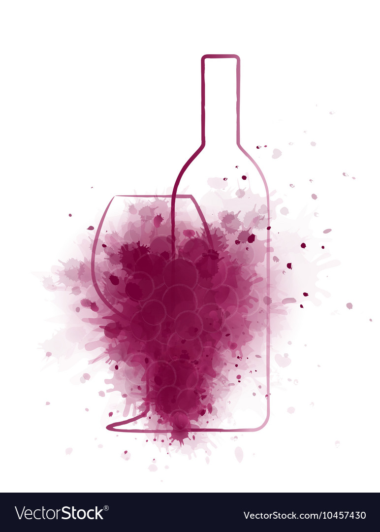 Grunge wine bottle with glass and grapes vector