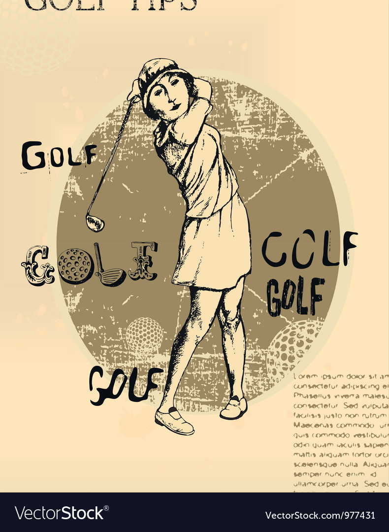 Abstract background golfing woman old newspaper vector