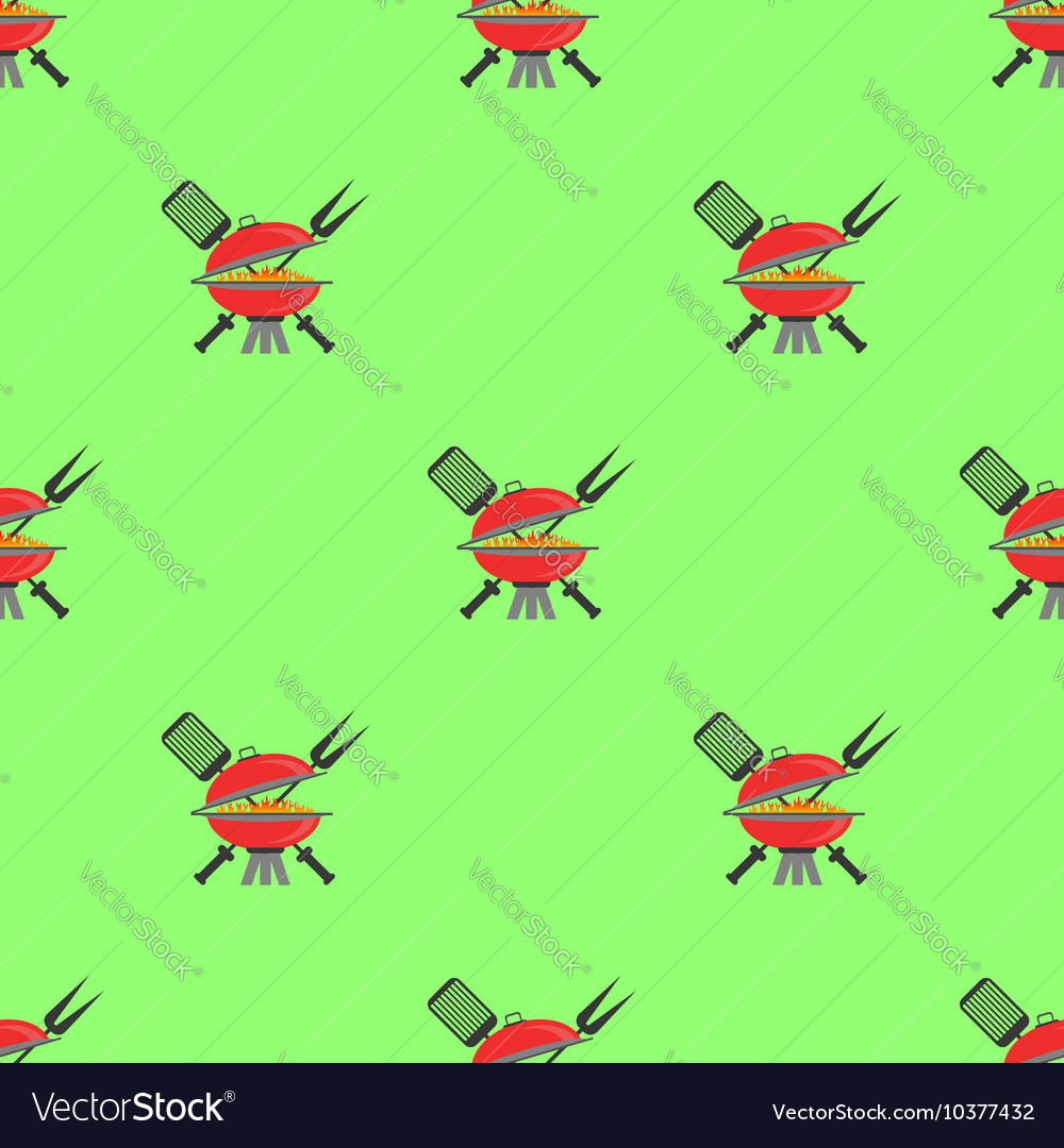 Barbeque icon seamless pattern grill background vector