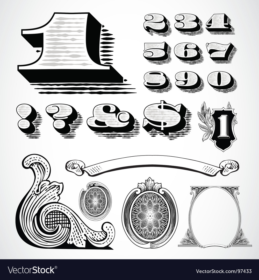 Decorative numbers vector