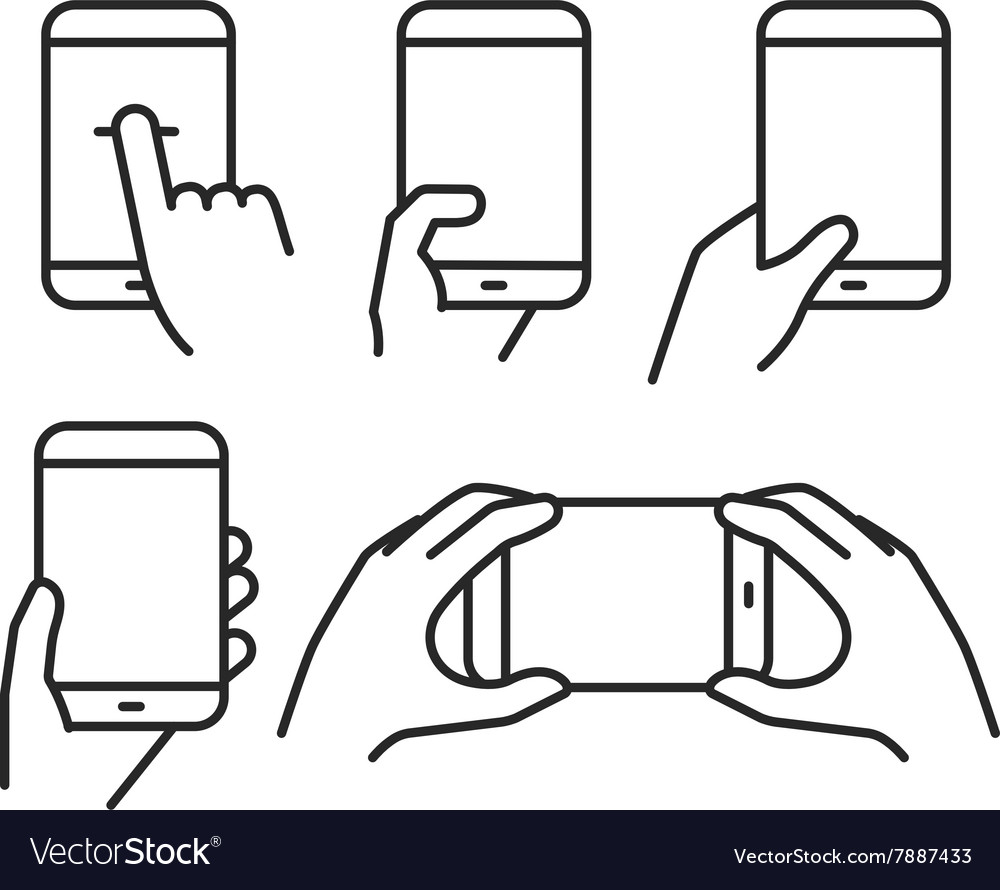 Different variations of holding a modern phone vector