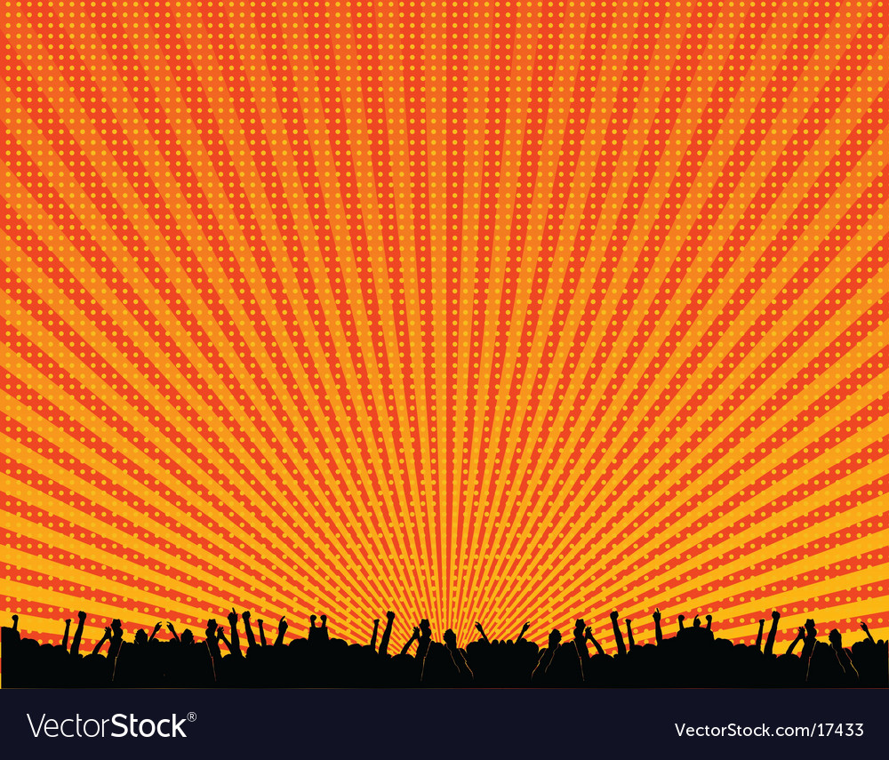 Rave crowd silhouette vector