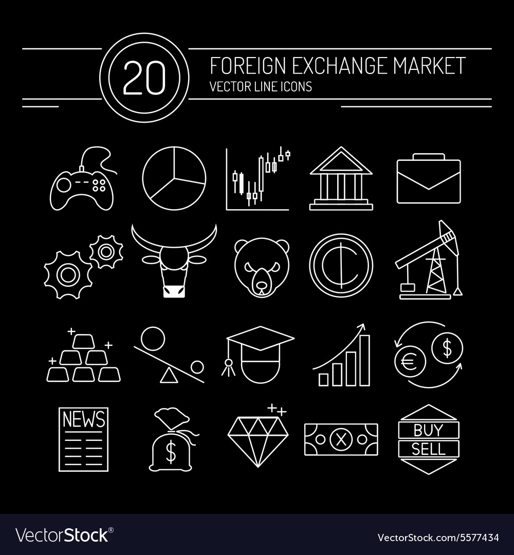 Forex line icons black vector