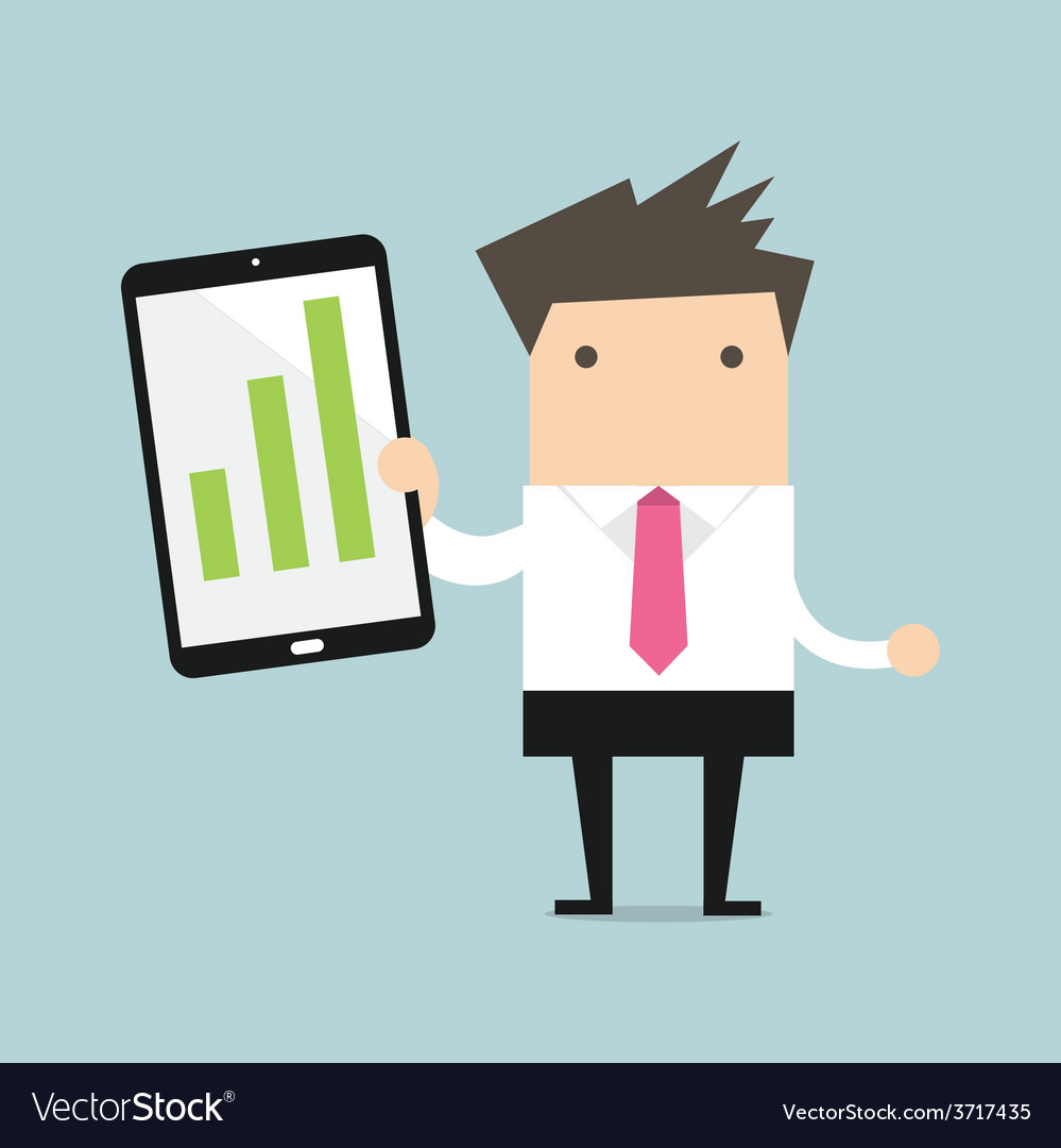 Businessman holding a tablet with growing graph vector
