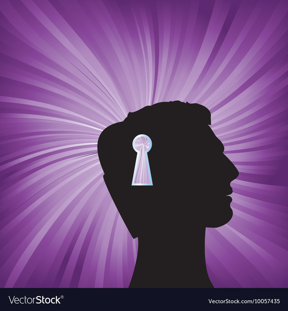 Human head with keyhole mark symbol vector