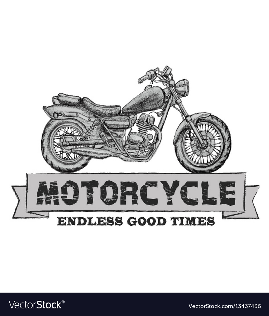 Hand drawn chopper motorcycle quote vector