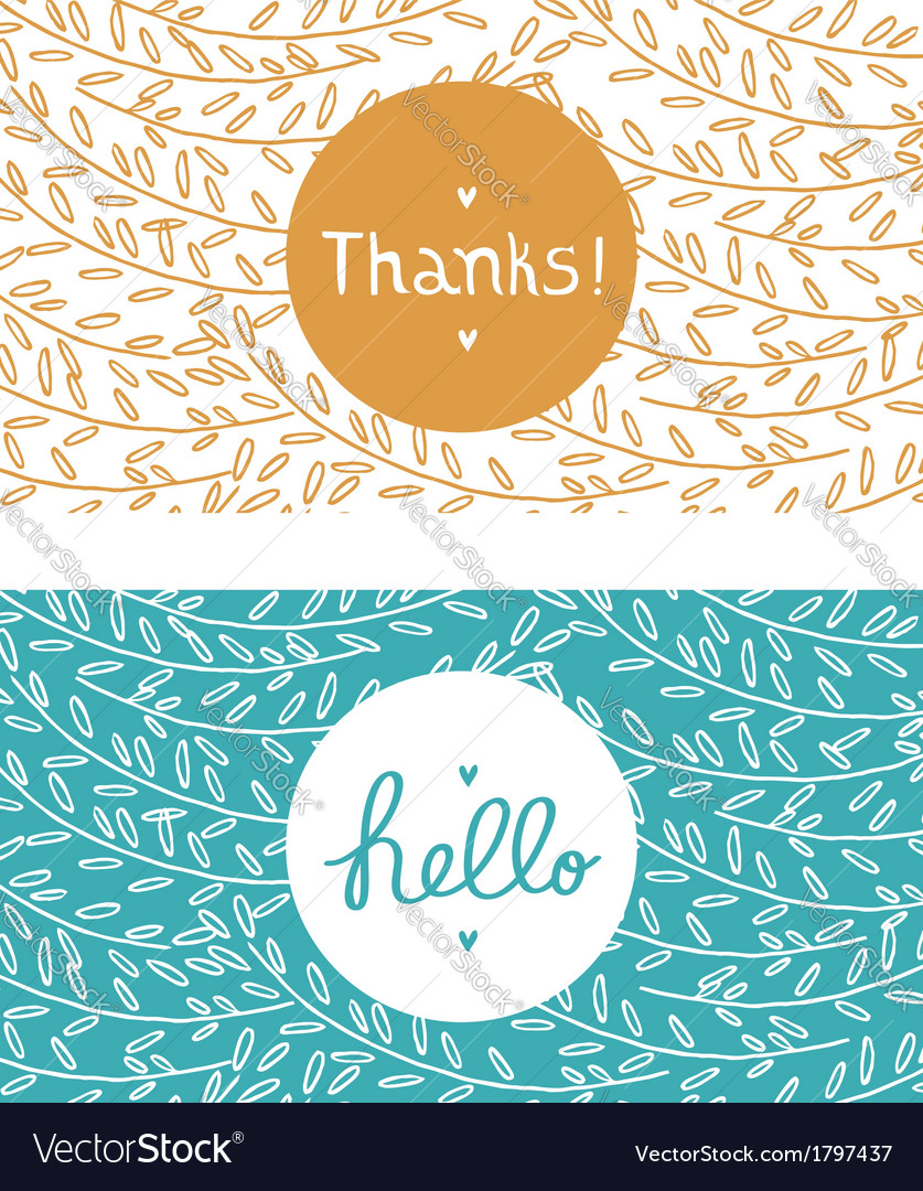Hello and thanks cards vector