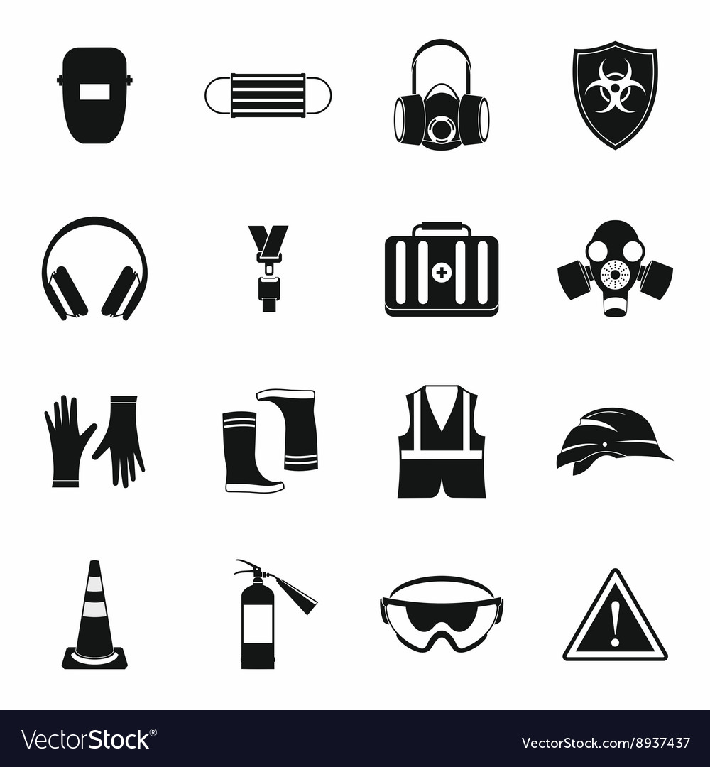 Safety icons set simple style vector
