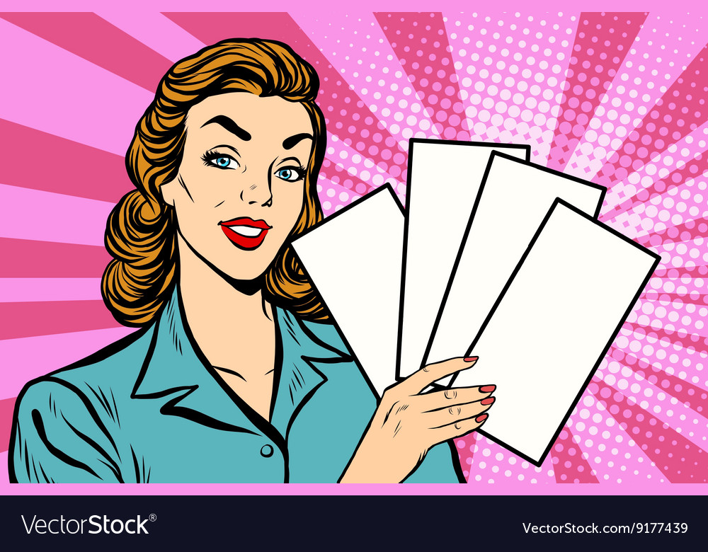 Girl promo with booklets vector