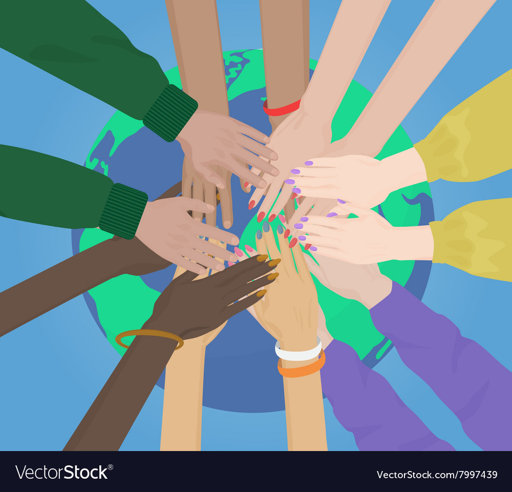 Group of multiracial human hands together joining vector