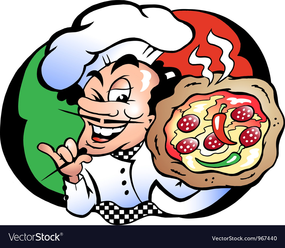 Handdrawn of an italien pizza baker vector