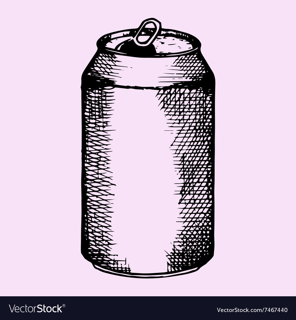 Opened aluminum can beer vector