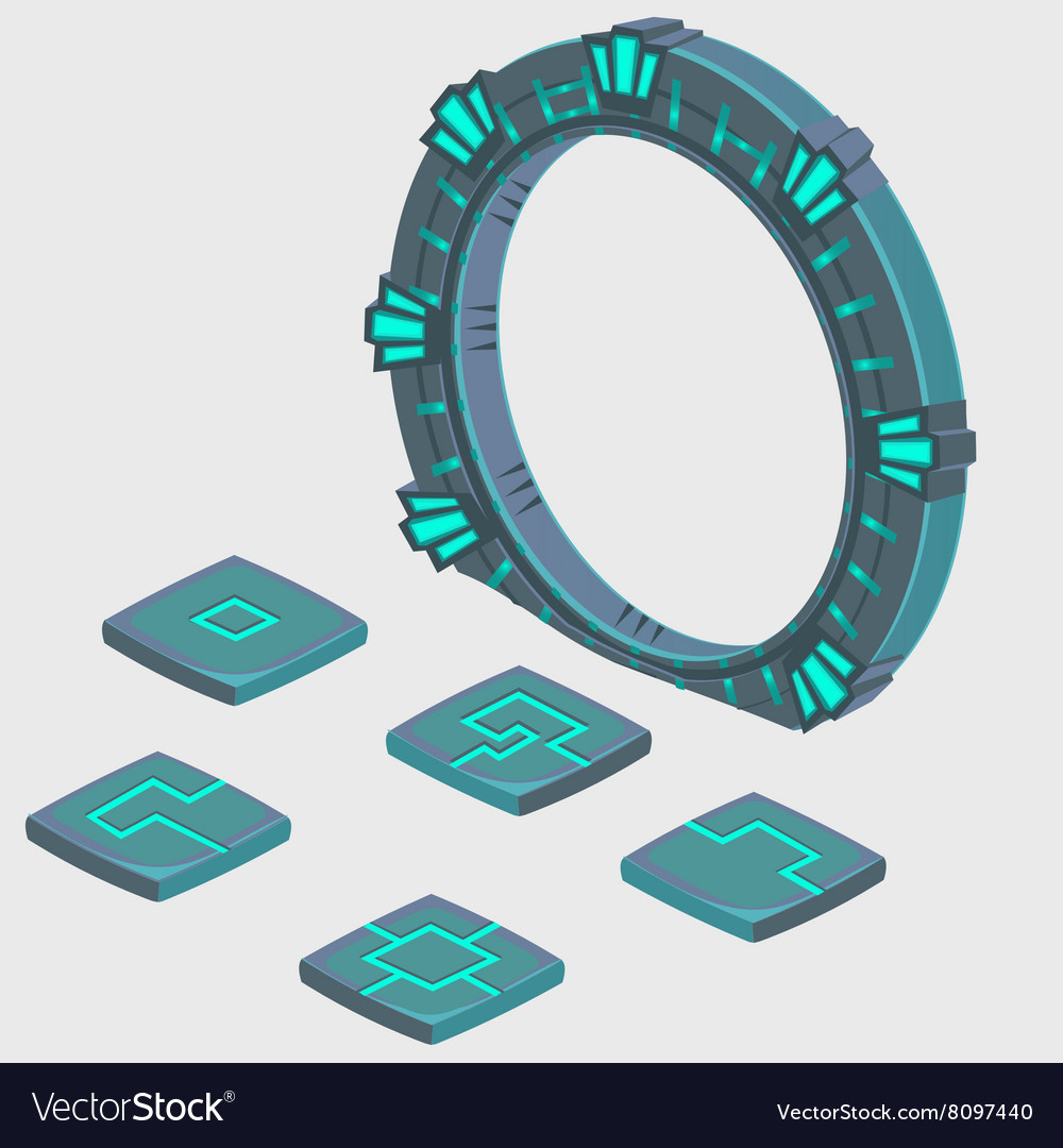 Portal to another dimension and plate with runes vector