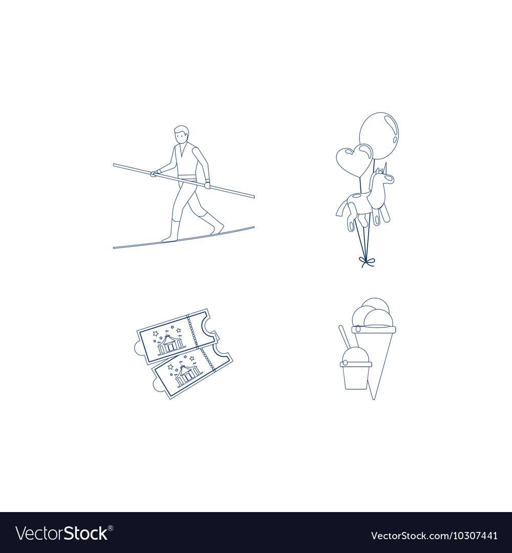 Circus blue line art icons vector