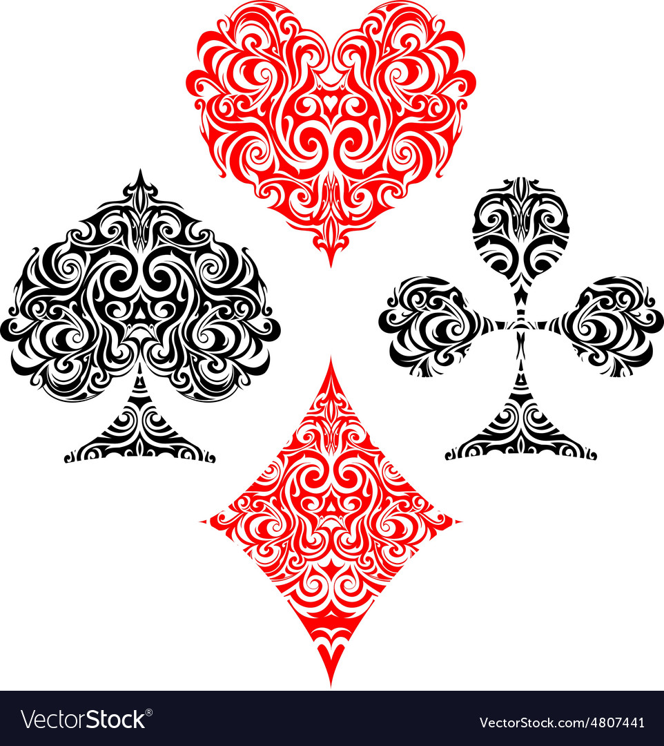 Set of gaming cards suit design vector