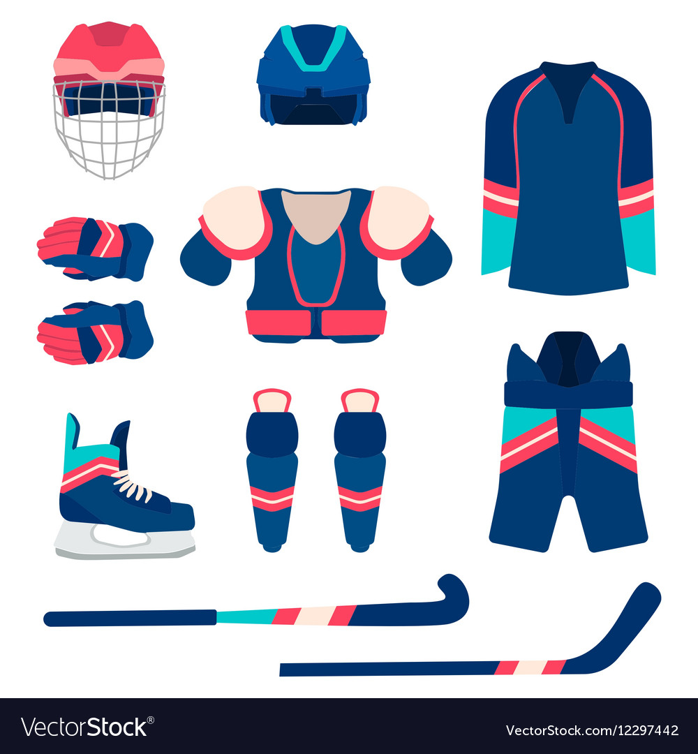 Ice hockey sport equipment set ice hockey vector