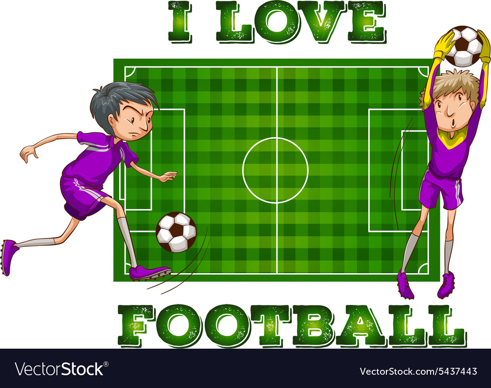 I love football with players vector
