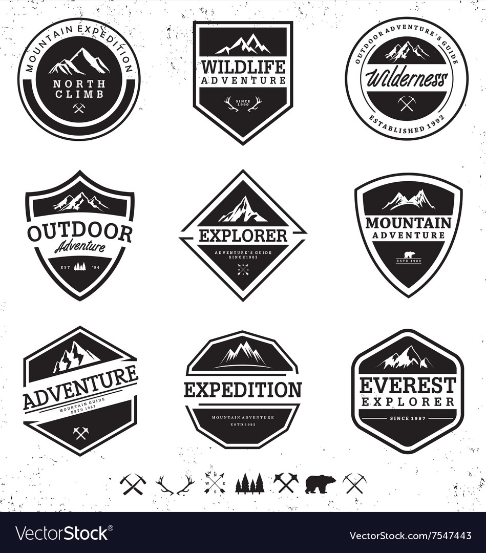 Mountain outdoor adventure badges collection vector