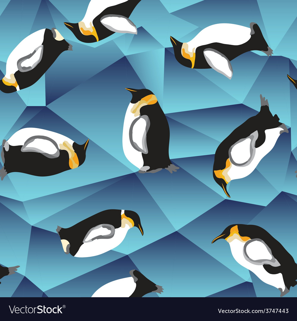 Penguin pattern blue crystal ice background vector