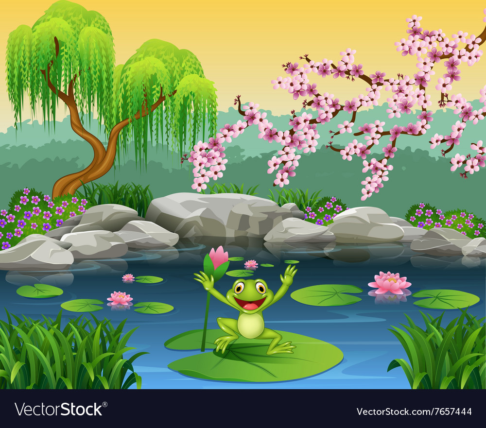 Cute frog jumping on the lily water vector