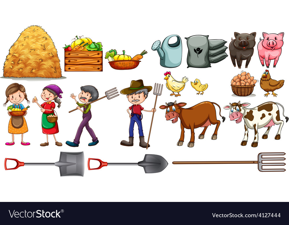 Farmers with their tools and animals vector