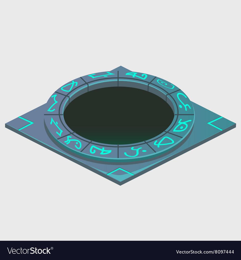 Portal with glowing runes series of artifacts vector