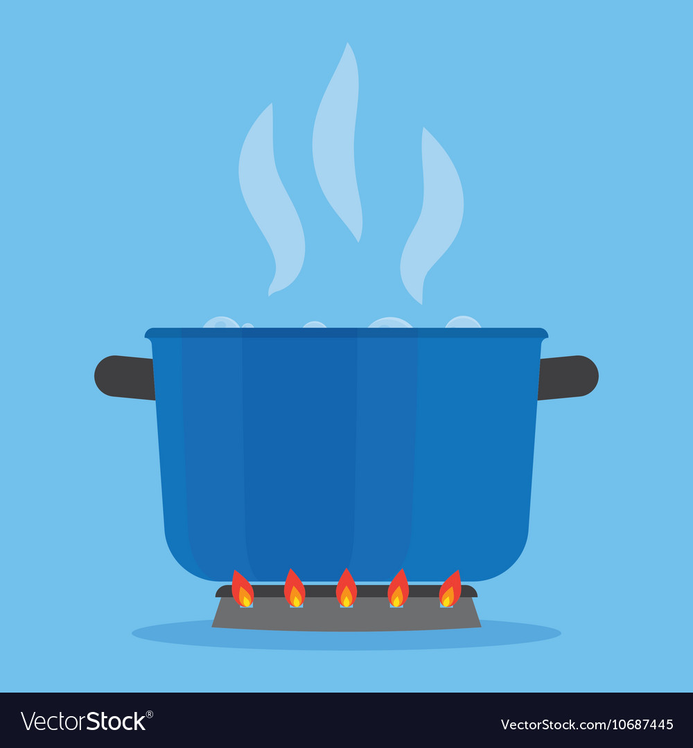Boiling water in pan on stove in the kitchen vector