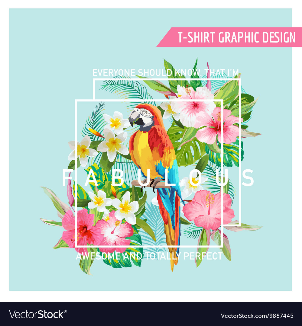 Floral graphic design  tropical flowers and bird vector