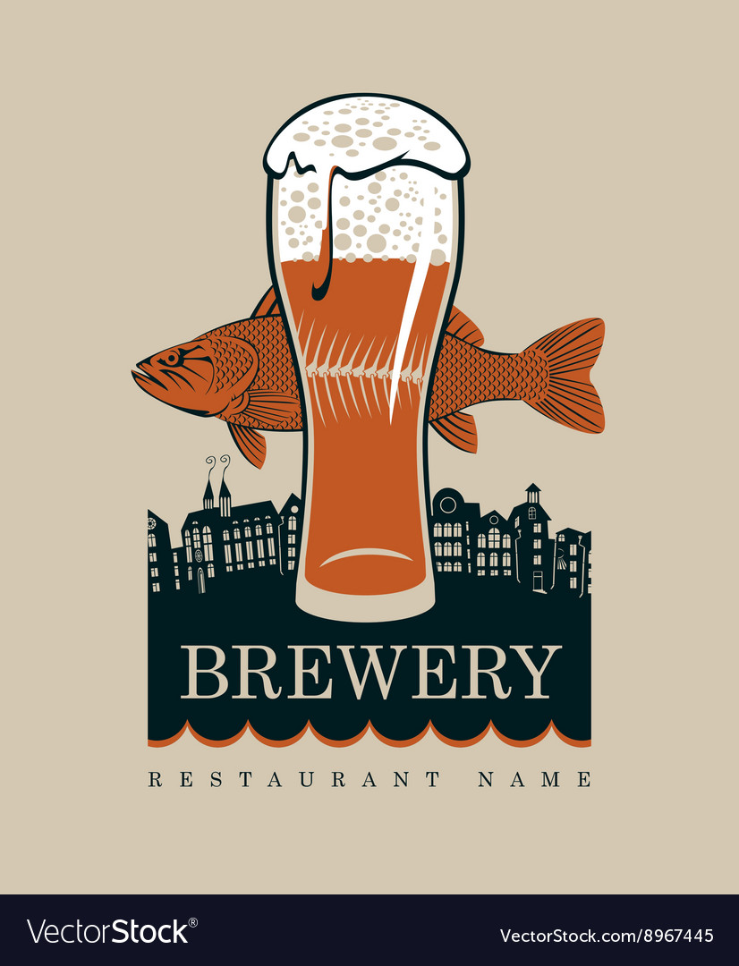 Glass of beer and a fish vector