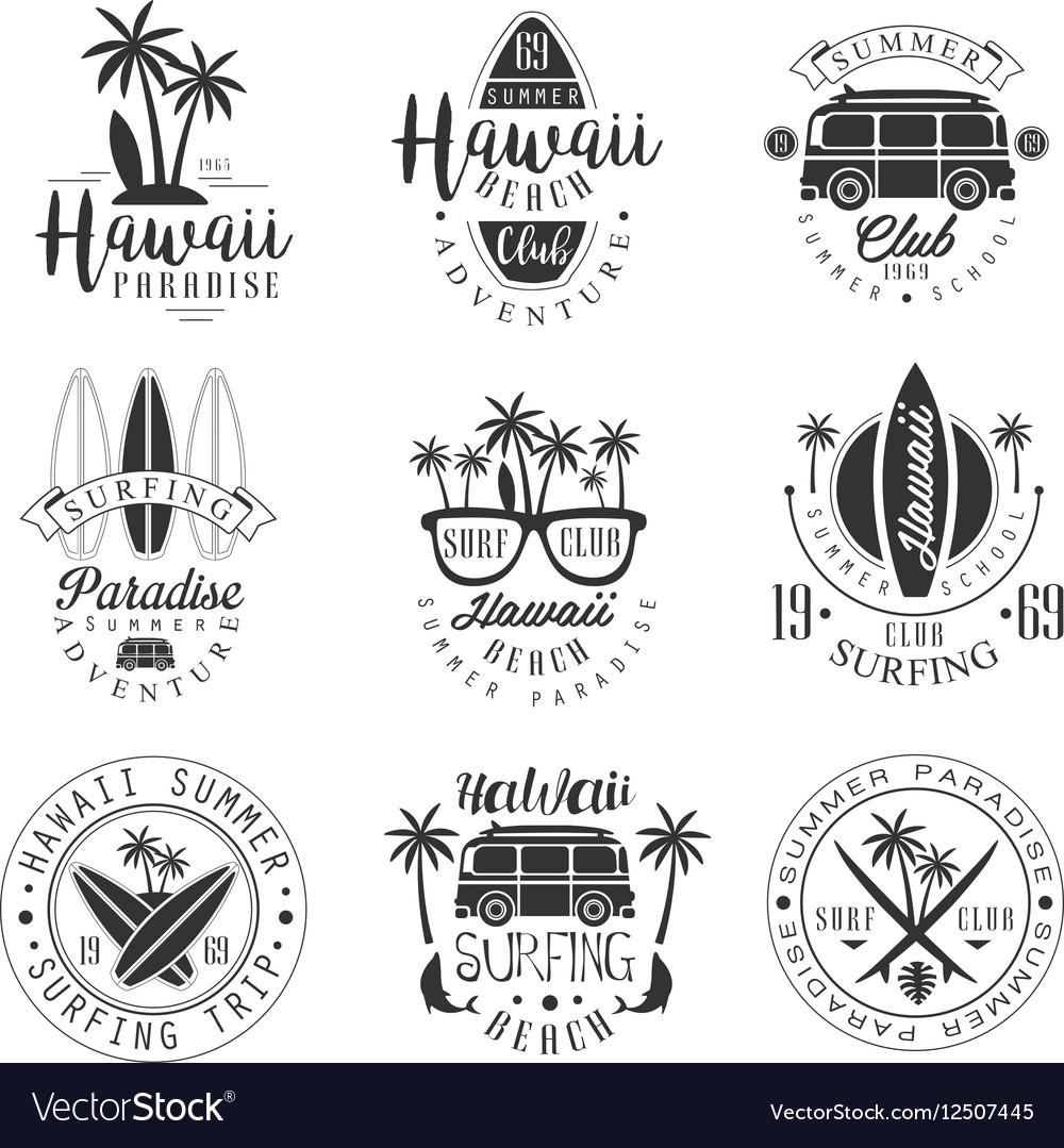 Hawaiian beach surfing vacation black and white vector