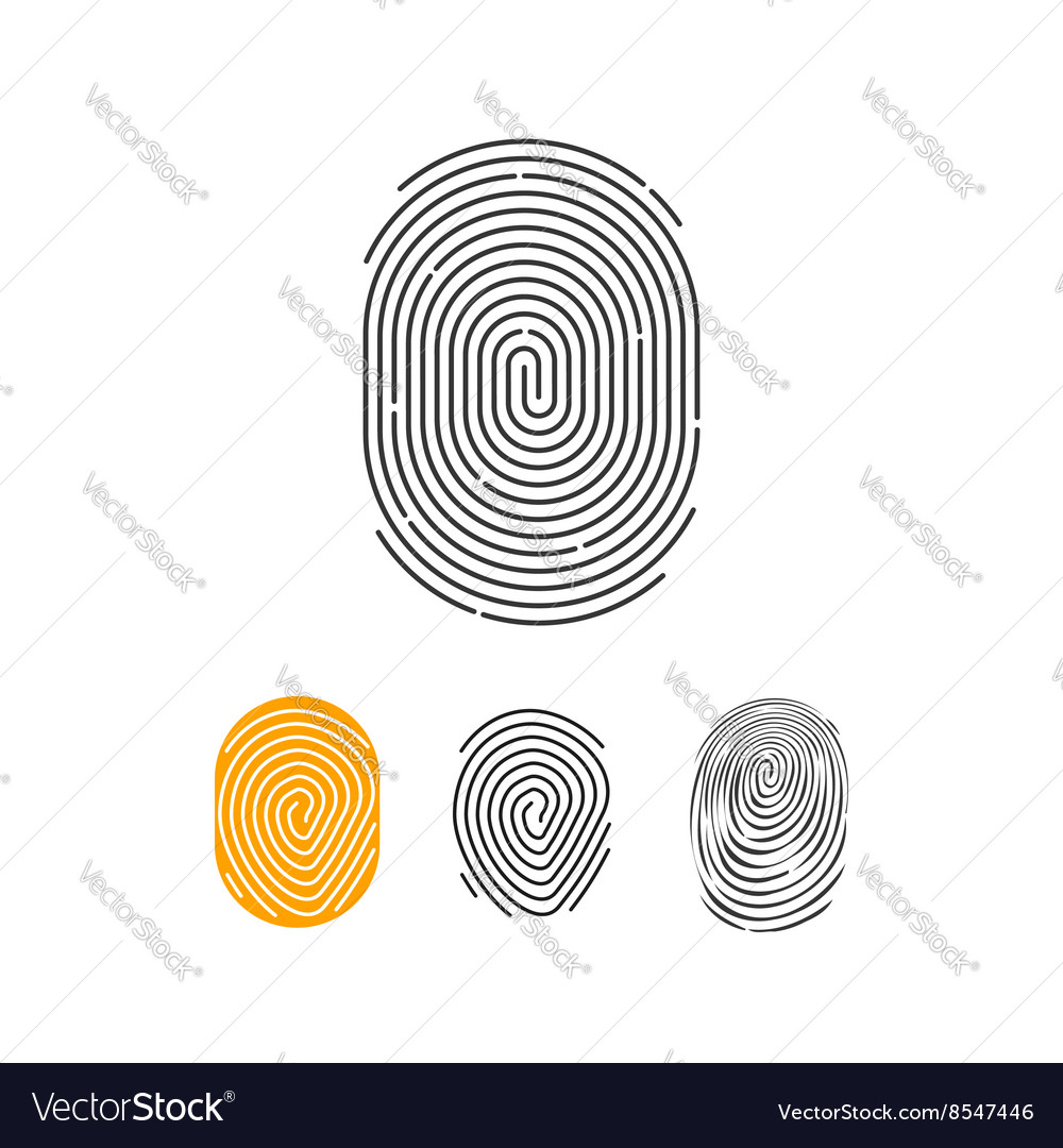 Fingerprint icons set abstract thumbprint vector