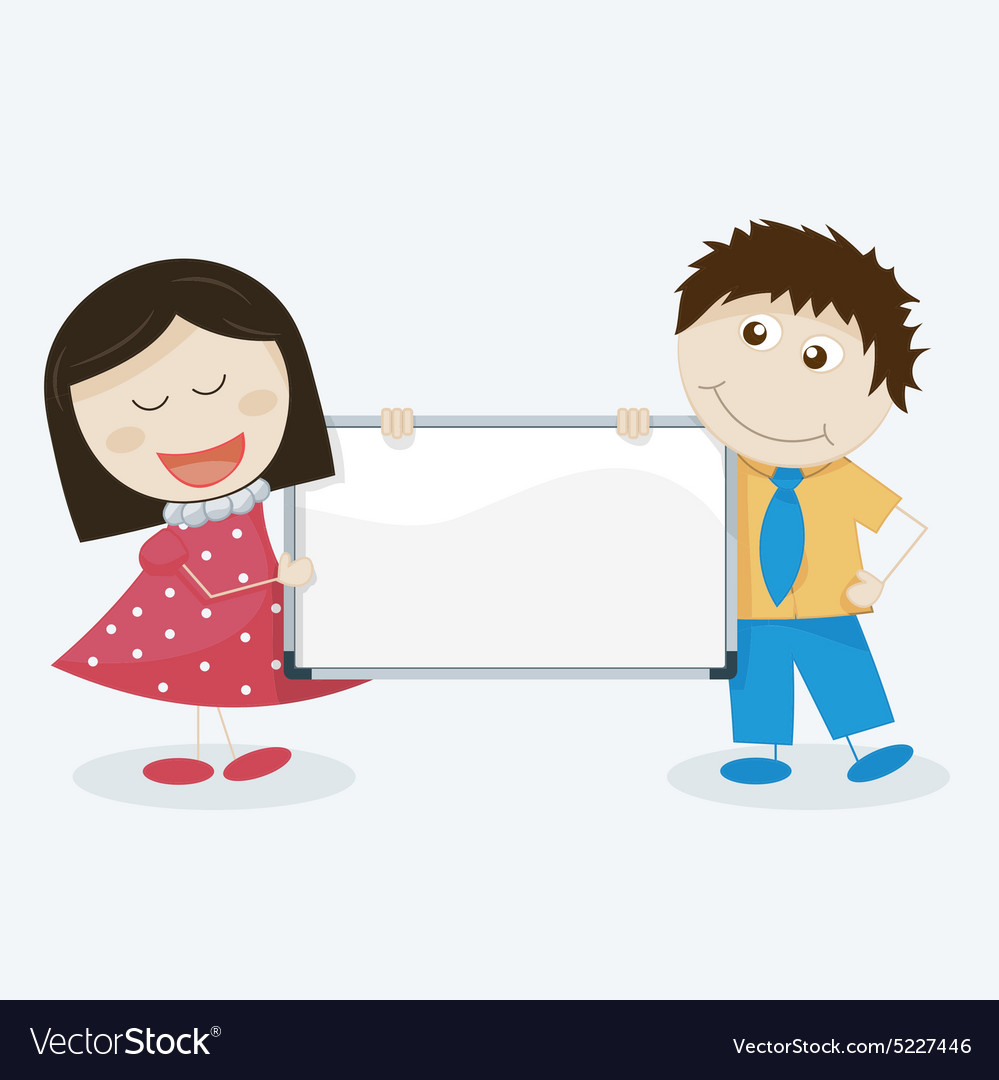 Kids with a blank signboard vector