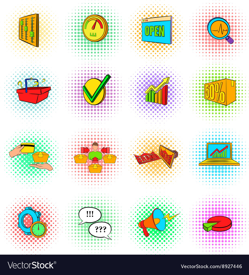 Marketing set icons popart style vector