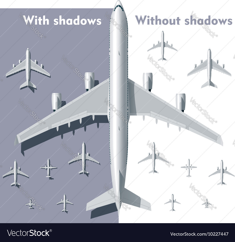 Overhead view airplanes set vector