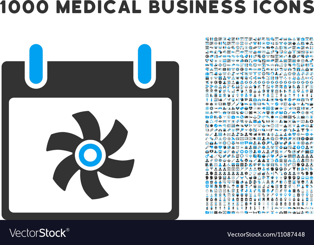 Fan calendar day icon with 1000 medical business vector