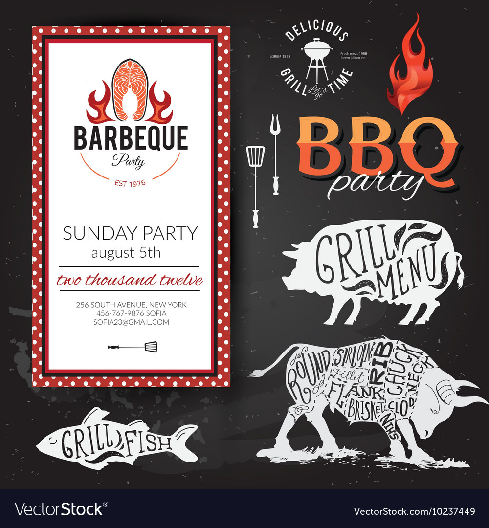 Barbecue party invitation bbq brochure menu vector