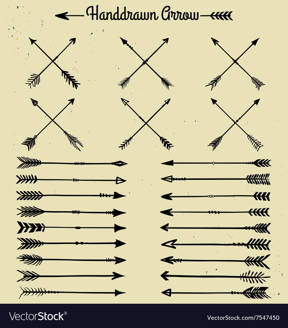 Handdrawn arrow collection vector