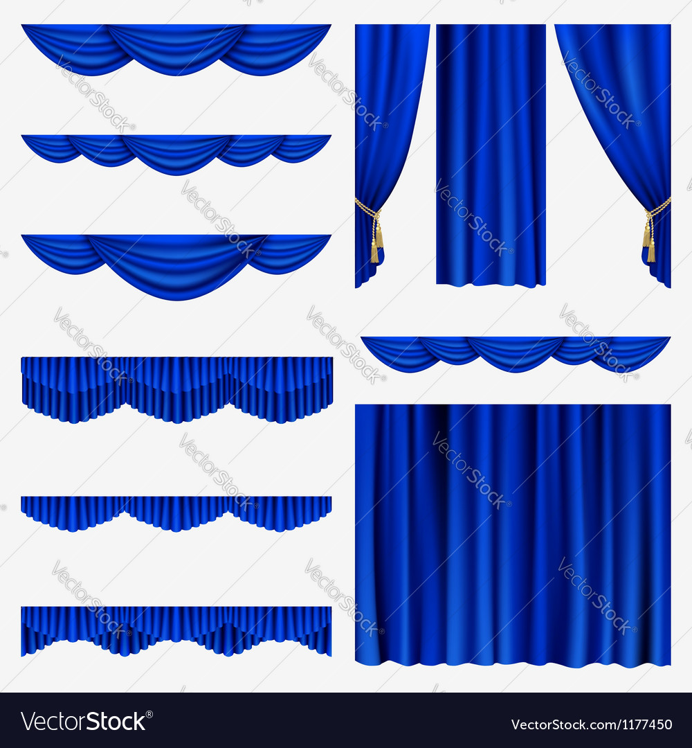 Set of curtains vector