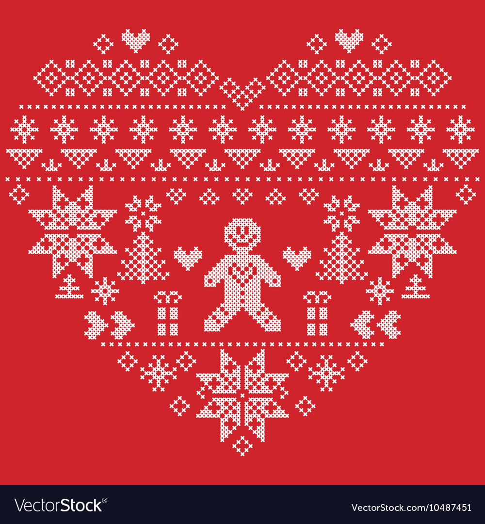 Christmas heart shape with gingerbread man on red vector
